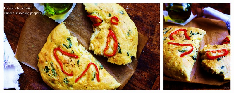 Focaccia bread with spinach & romano peppers w