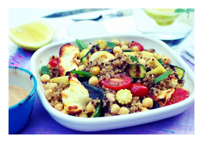 Red and white quinoa salad with halloumi cheese & roasted vegetables.